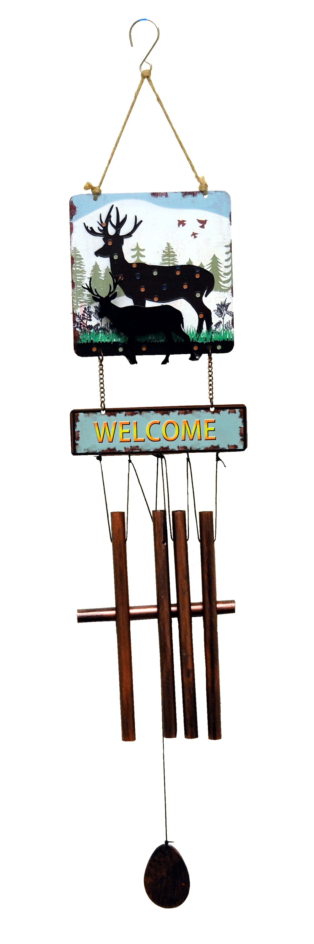 DEER PRINT SQUARE TOP WIND CHIME