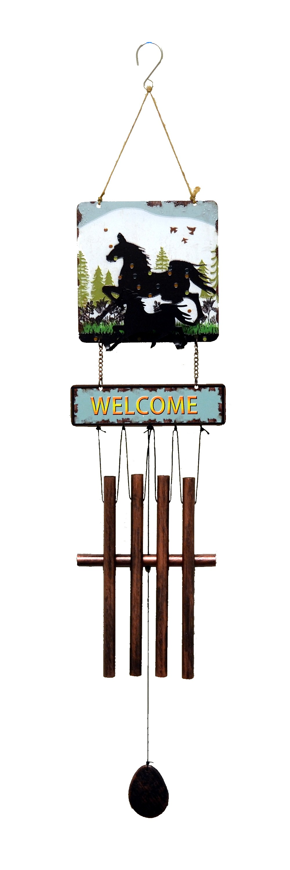 HORSE PRINT SQUARE TOP WIND CHIME