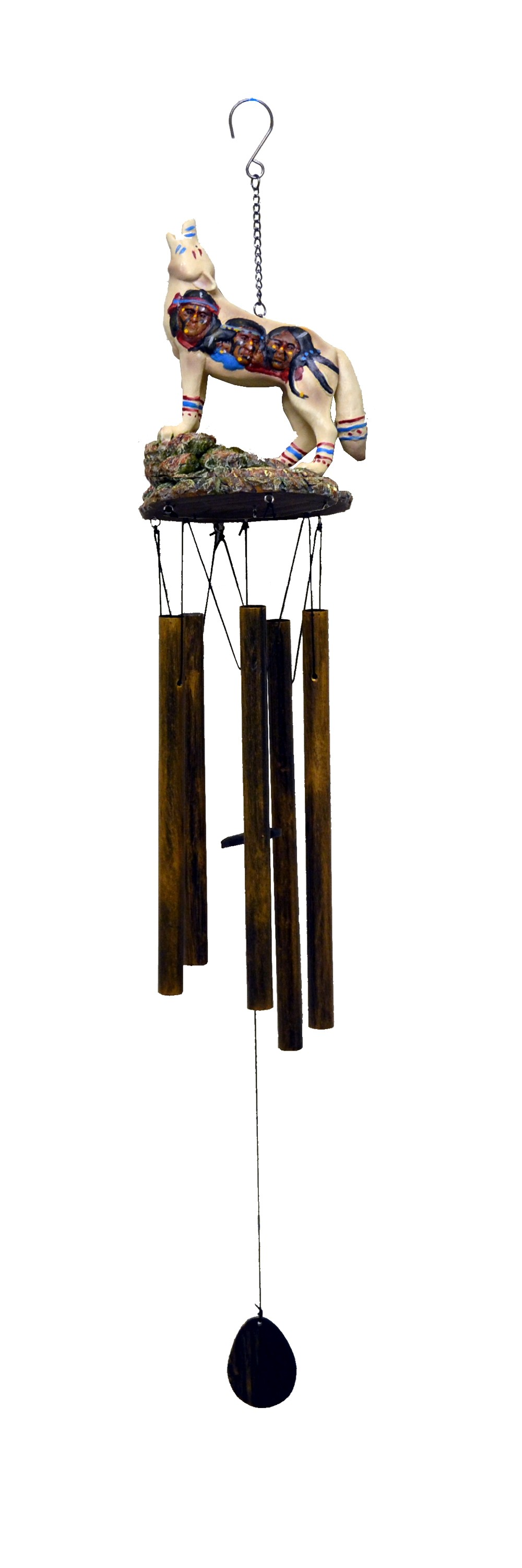 WOLF NATIVE AMERICANS ON ROCK RESIN WIND CHIME