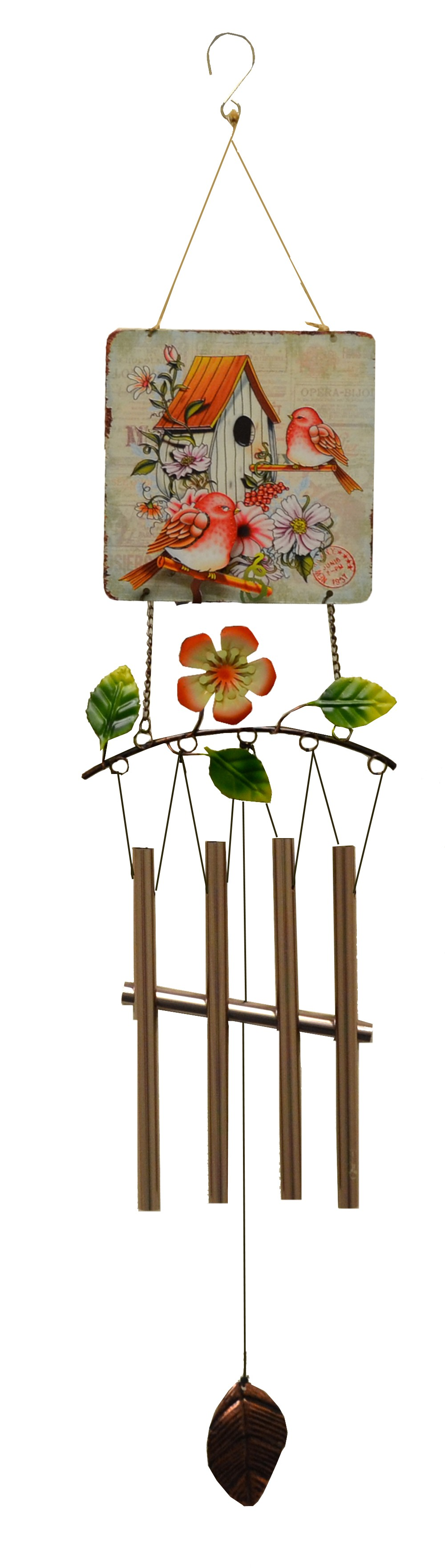 BIRD PRINT SQUARE METAL TOP WIND CHIMEME