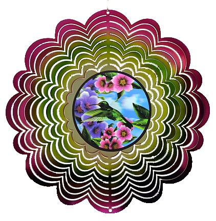 TWIN HUMMINGBIRD HOLOGRAPHIC SPINNER