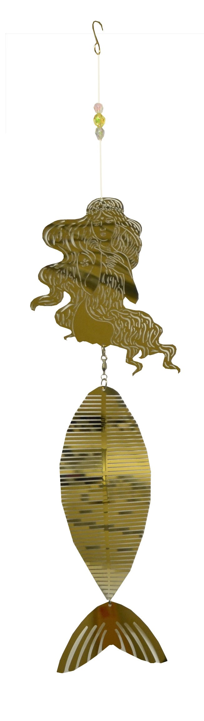 long hair mermaid gold wind chime 711001