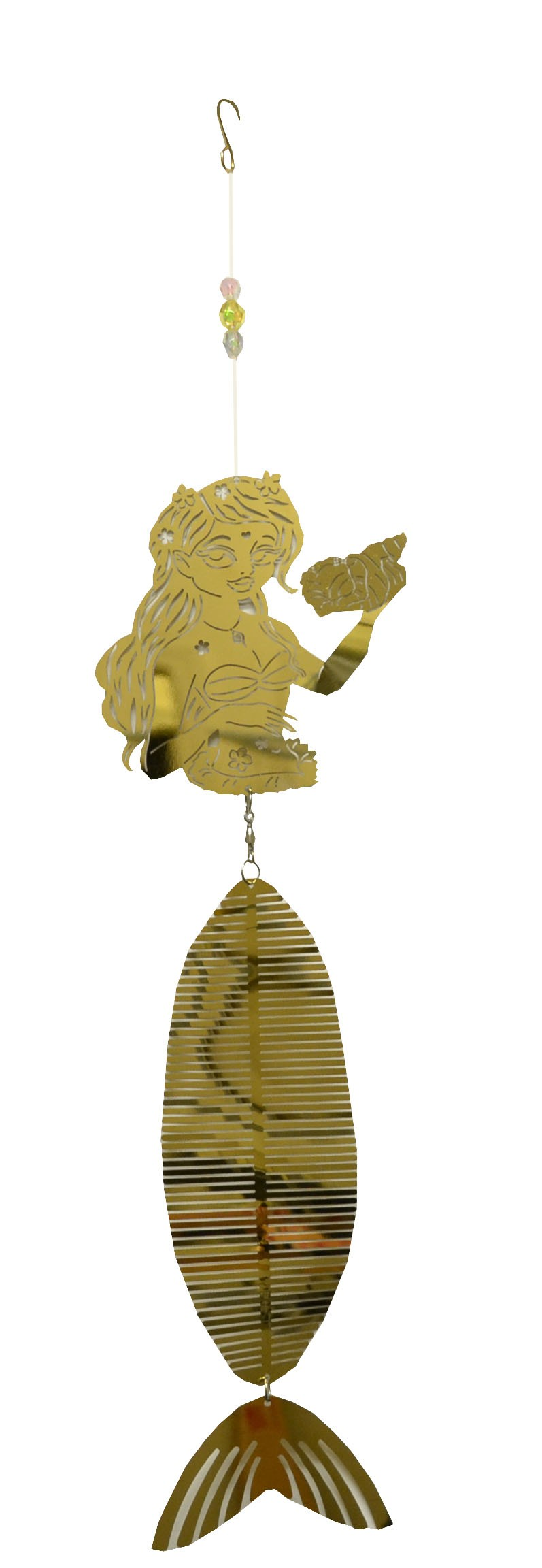 mermaid holding shell gold wind chime 711002