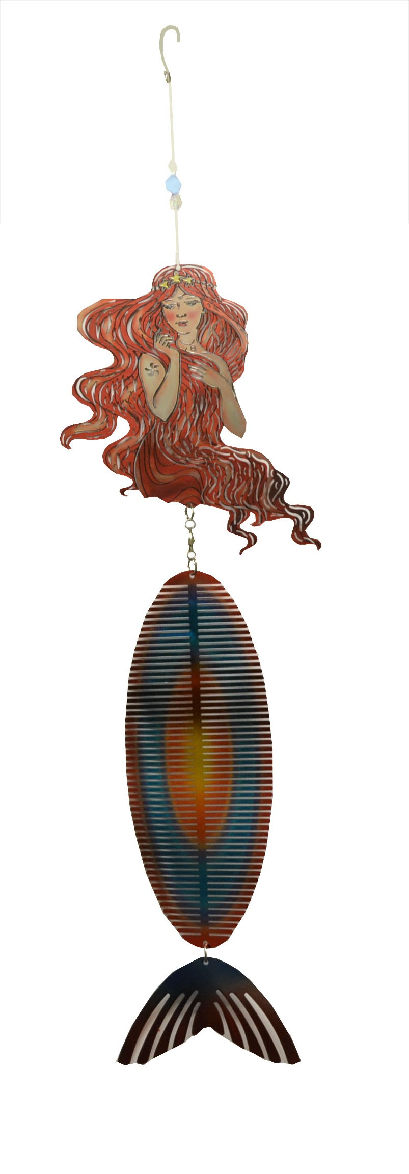 long hair mermaid with colors wind chime 711003