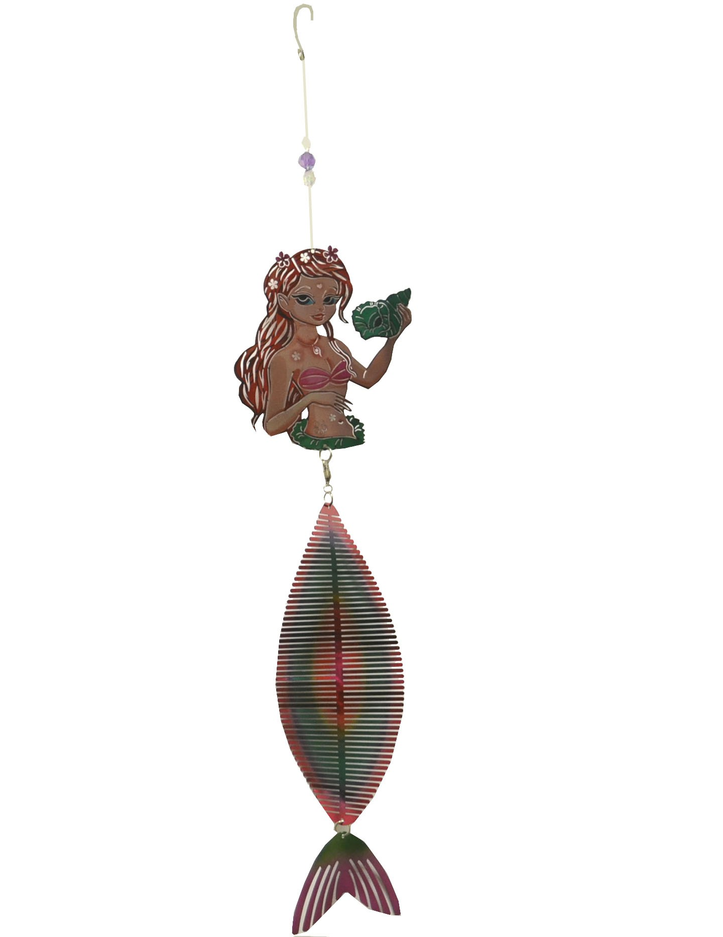 mermaid holding shell color wind chime 711004