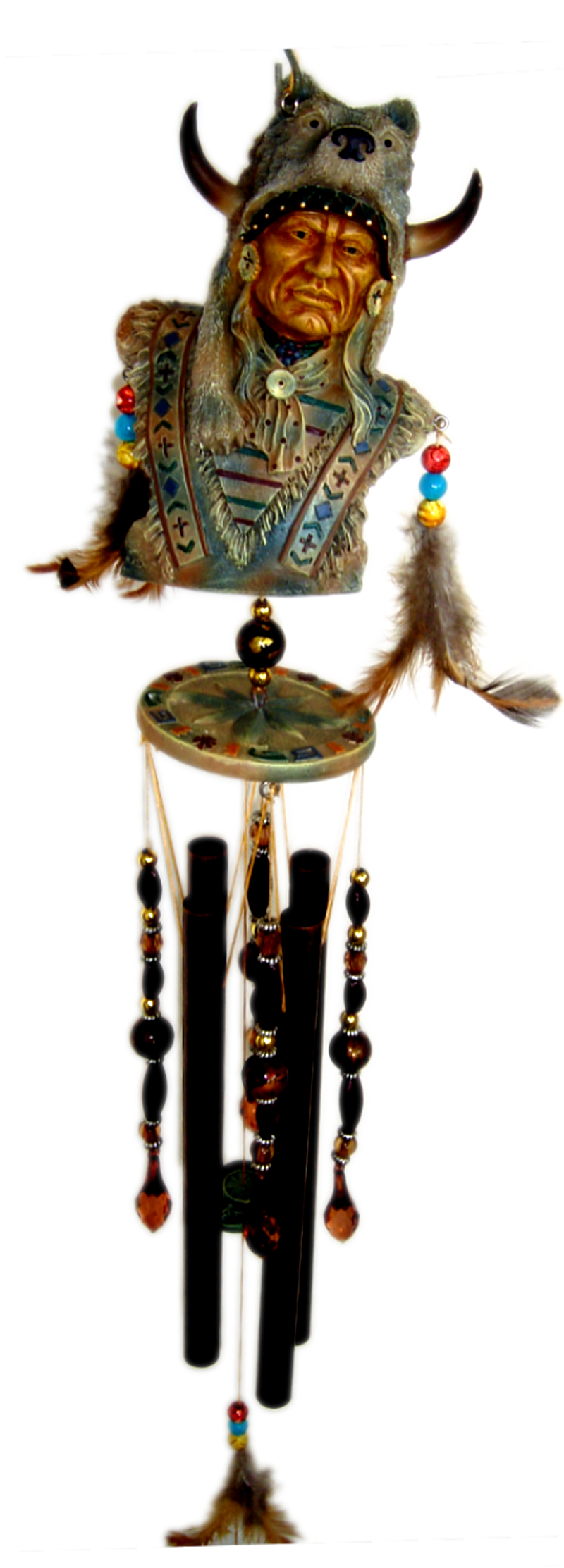 Warrior Wolf Poly Resin Indian Chime 36 inch 74501