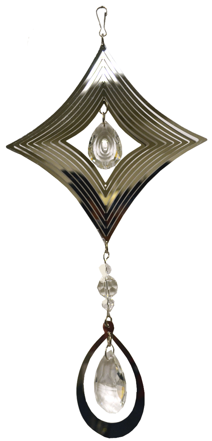 Diamond Silver Spinner with hanging Crystal Drop 24 inch 889006