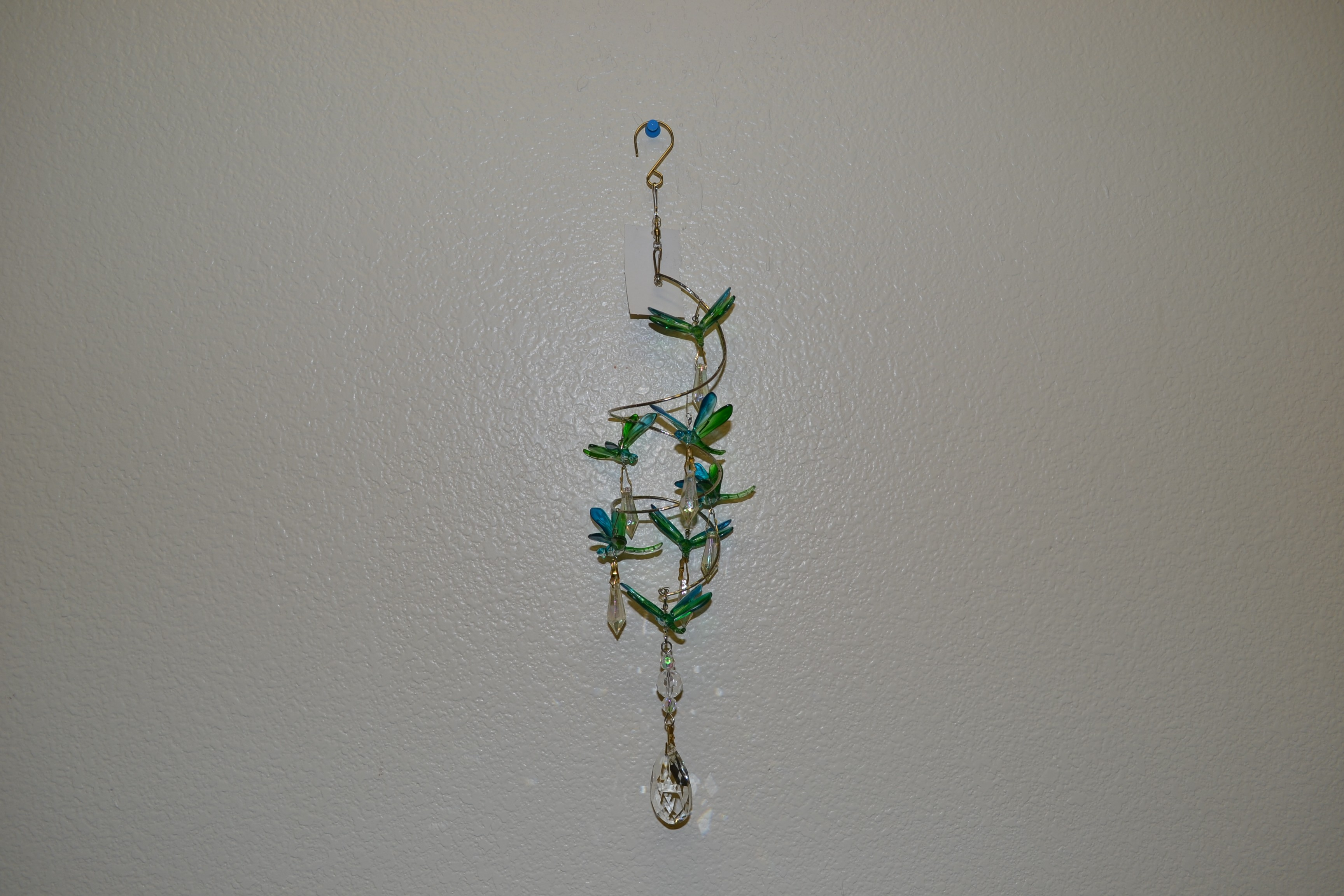Dragonfly SPRING WIRE W/crystal hanger