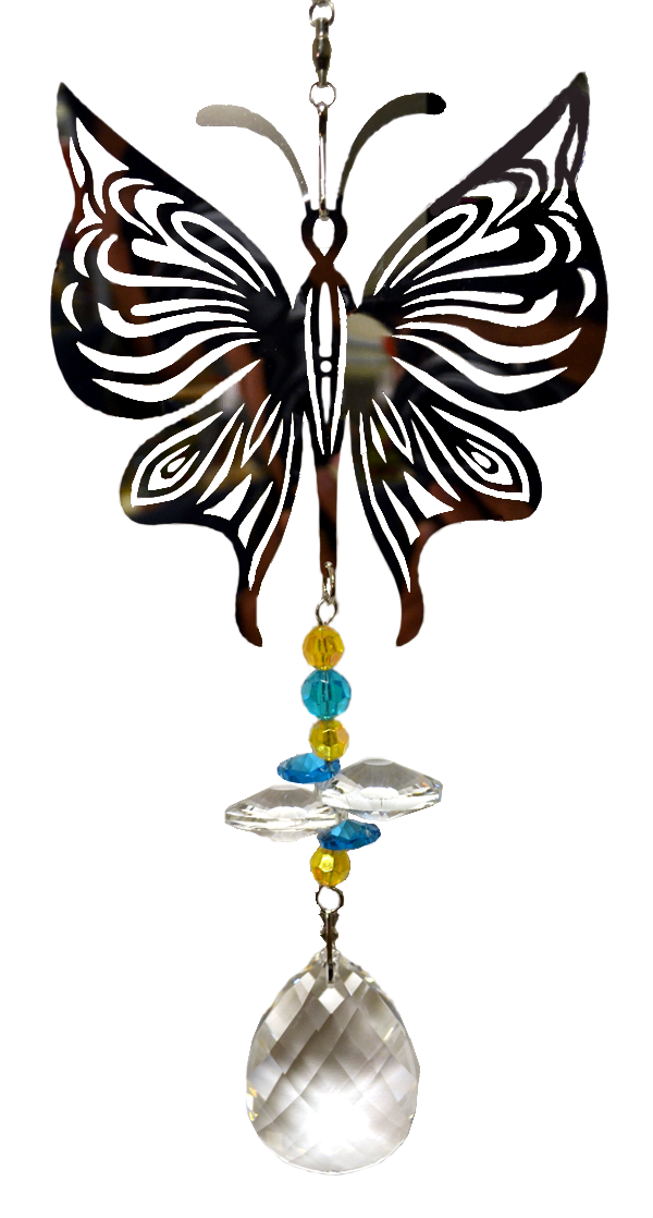 Silver Butterfly with crystal Hanger 24 inch 896001