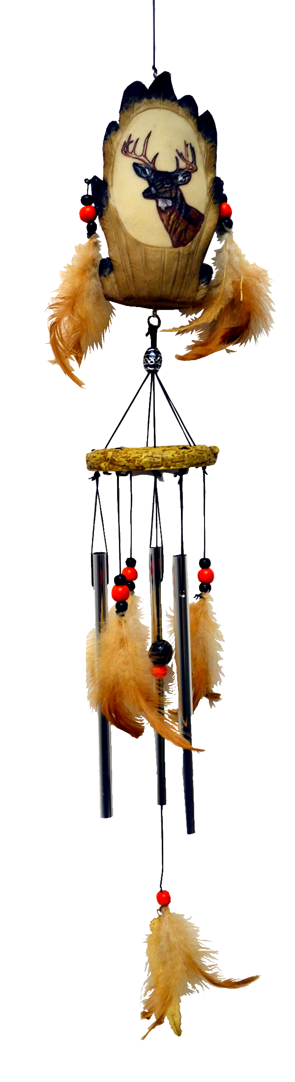 Deer Resin Chime with feather 24 inch 903001