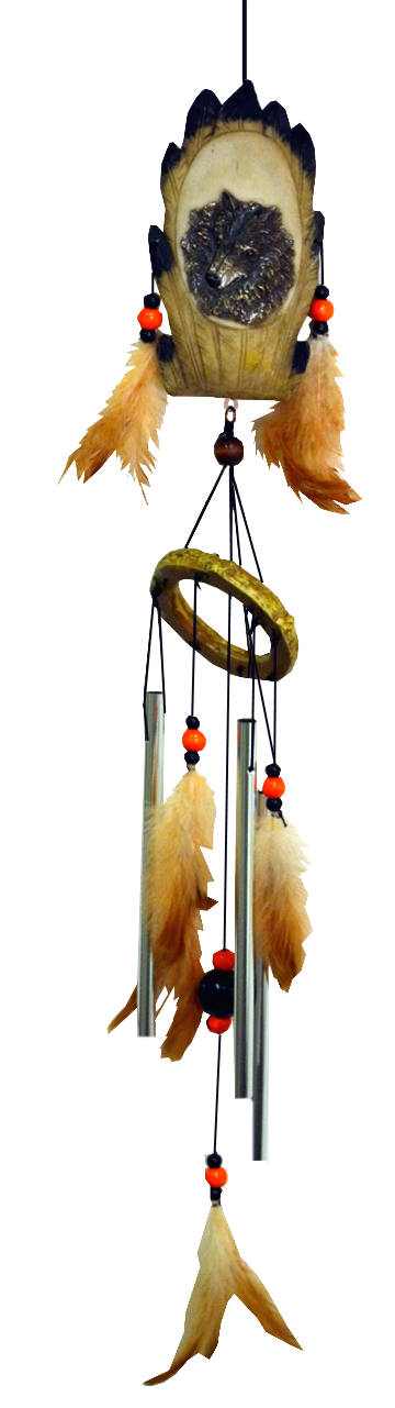 Wolf Resin Chime with feather 24 inch 903003