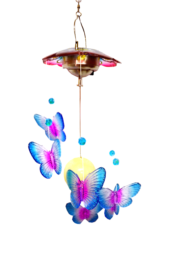 Blue Solar Led Acrylic Butterfly Hanger with flowers 24 inch 909002