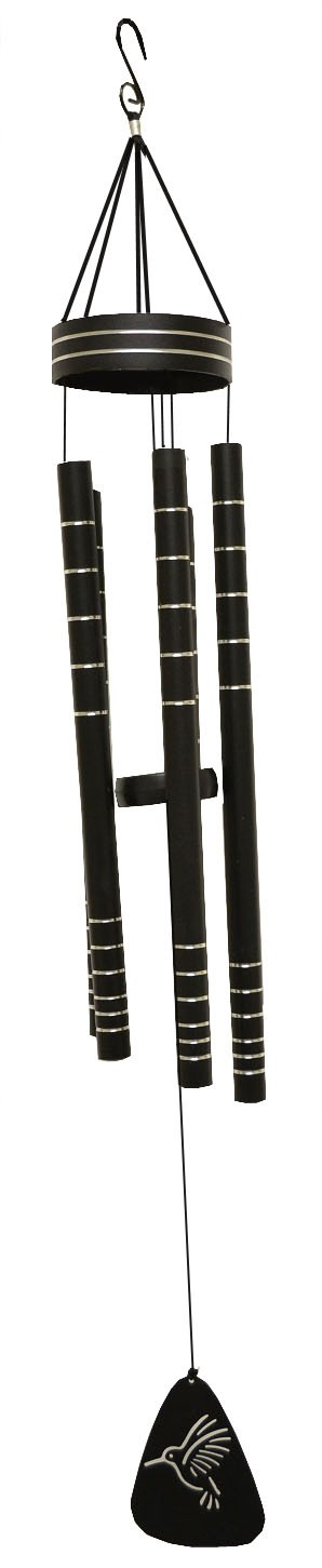 black with line stripes wind chime ht 290001