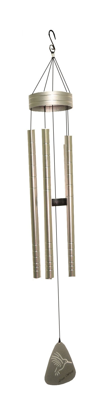 silver with line stripes wind chime ht 290003