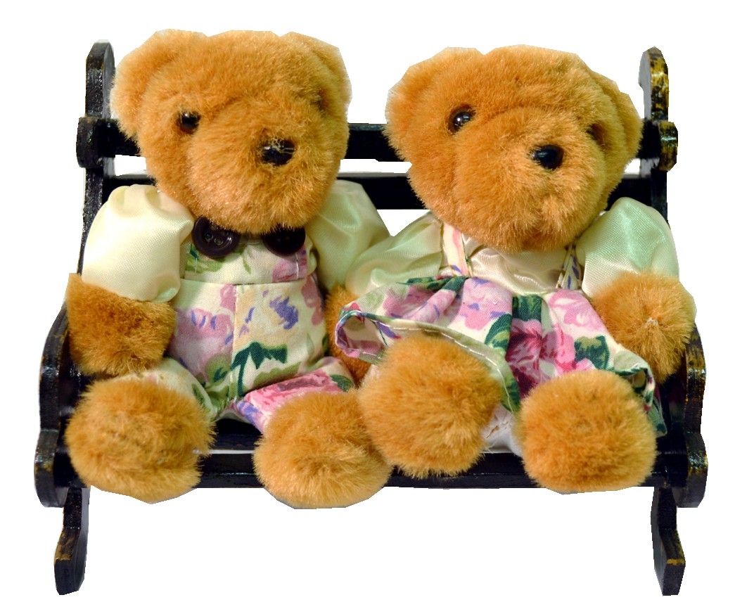 TEDDY COUPLE W/WHITE FLORAL ON BENCH