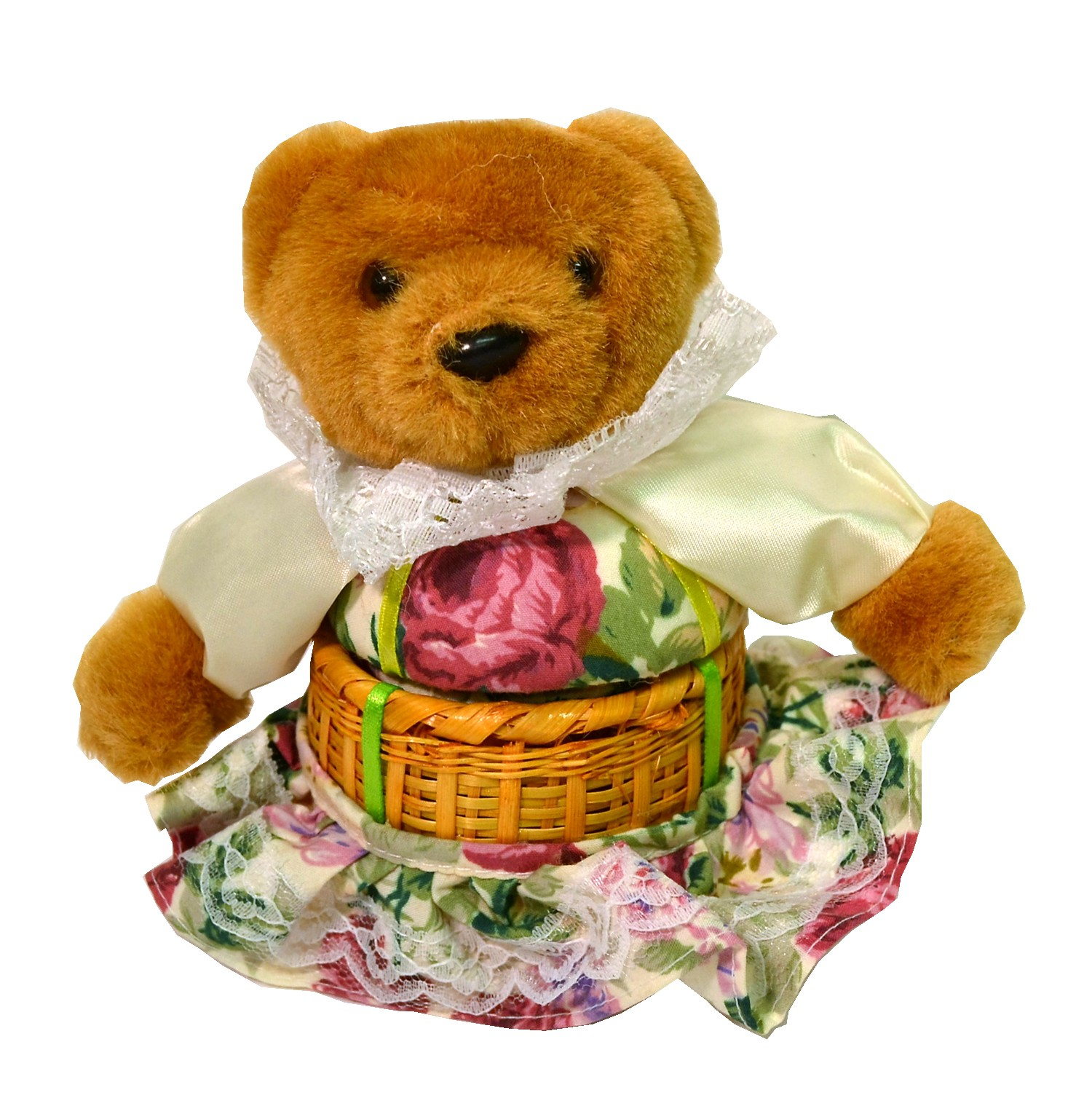TEDDY W/WHITE FLORAL PRINT BASKET