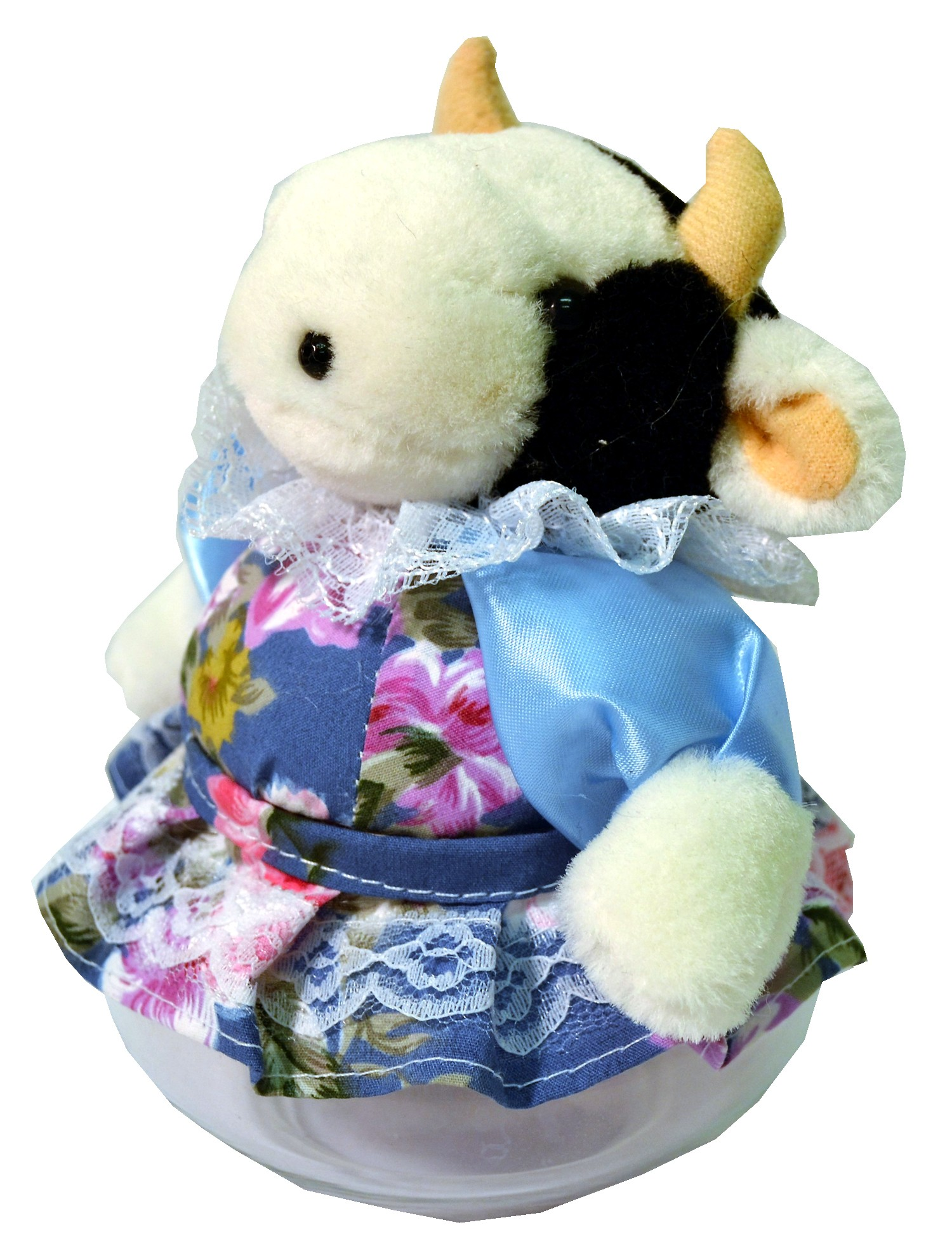 COW W/BLUE FLORAL SKIRT JAR