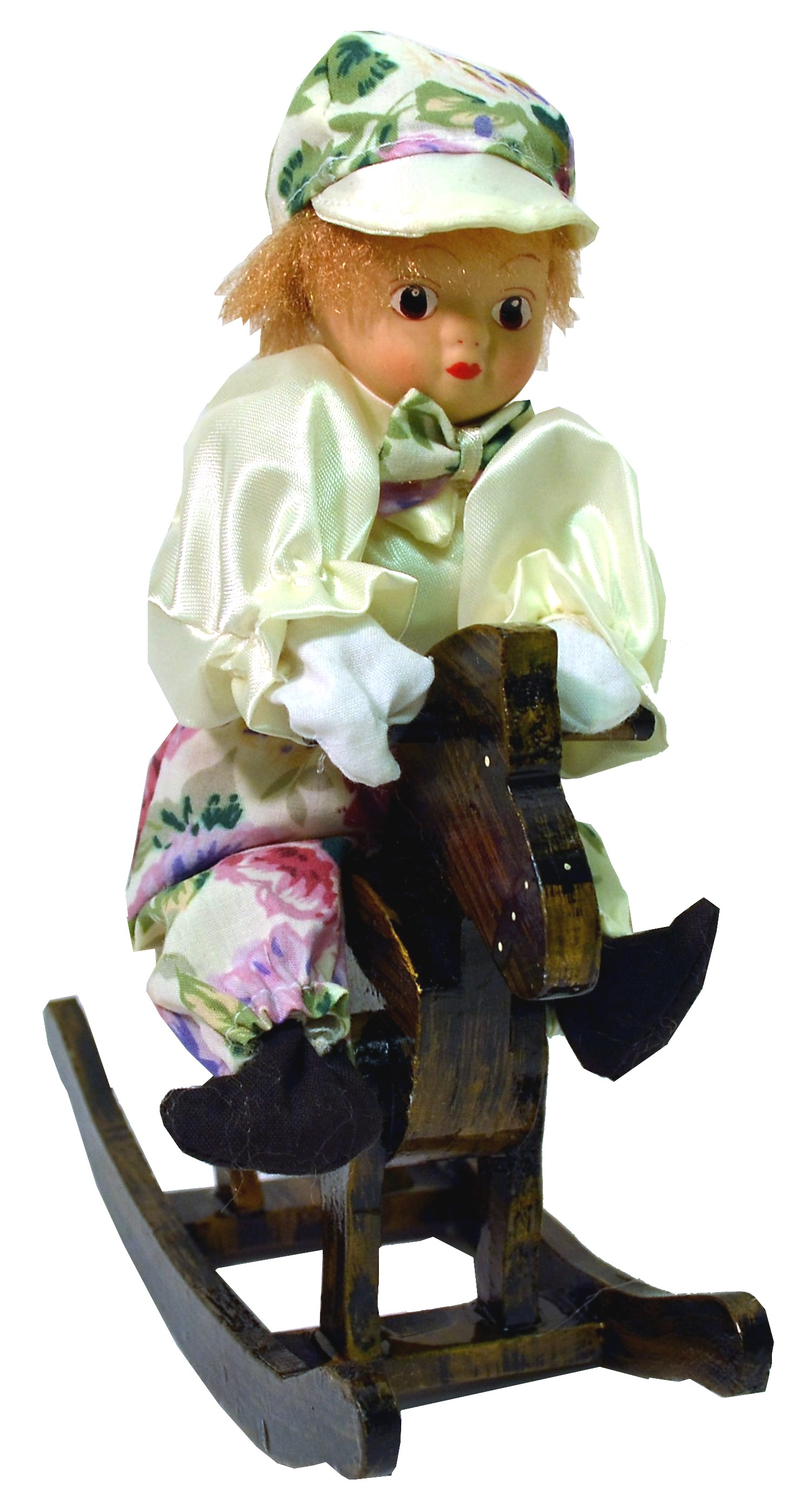 BOY W/WHITE FLORAL PRINT ROCKING HORSE