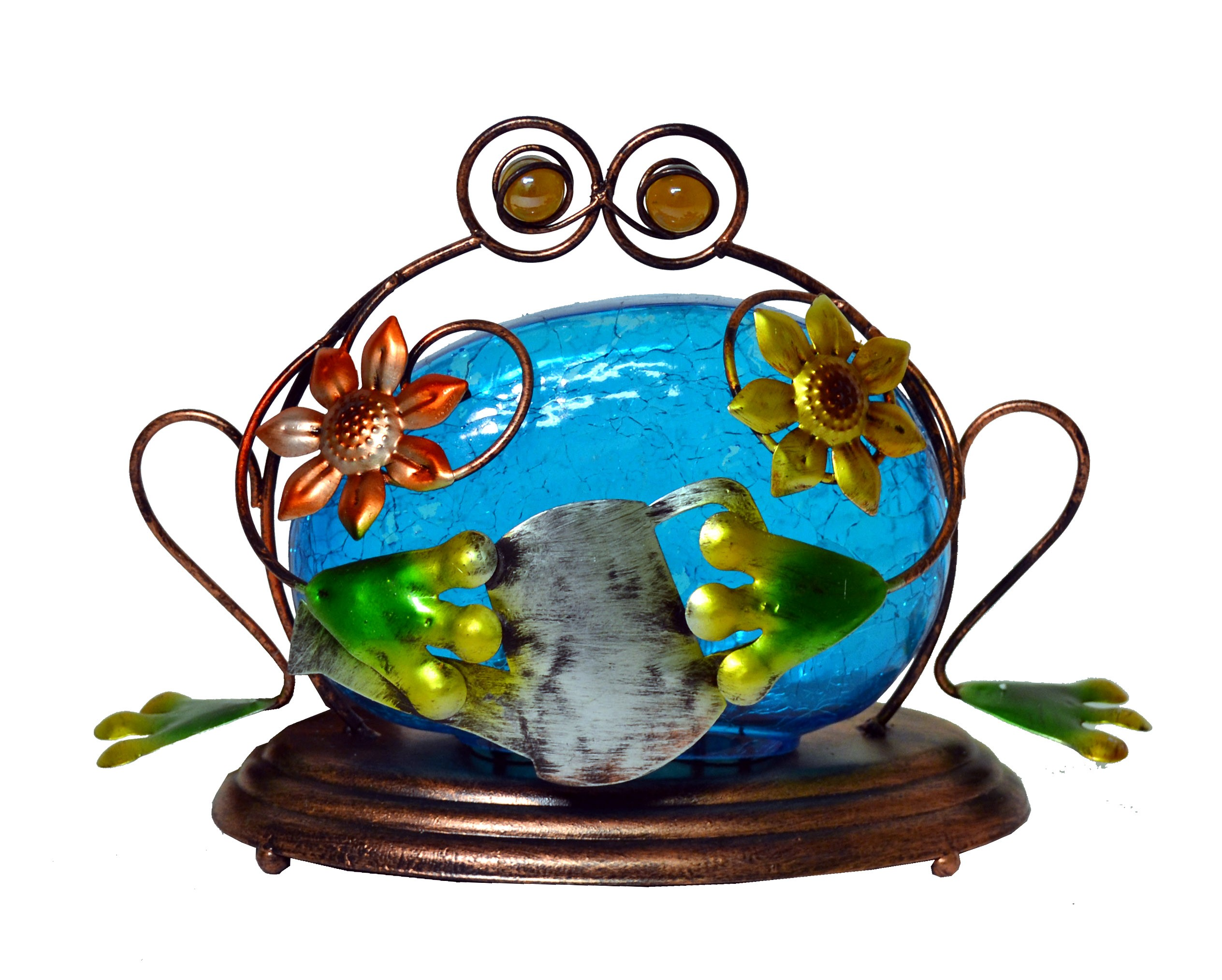 FROG WITH BLUE LED GLASS SMALL