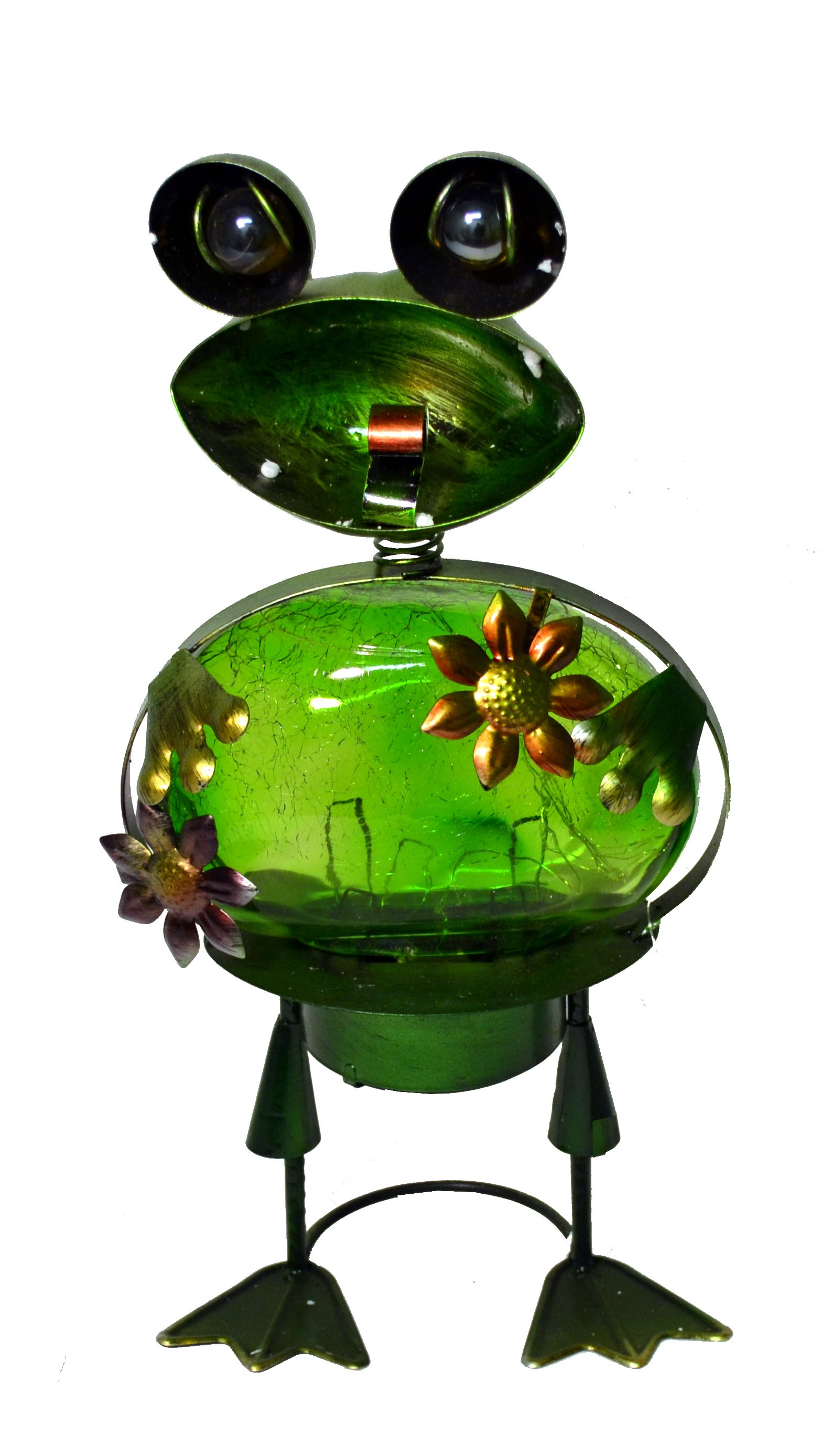 FROG WITH GREEN SOLAR LED GLASS