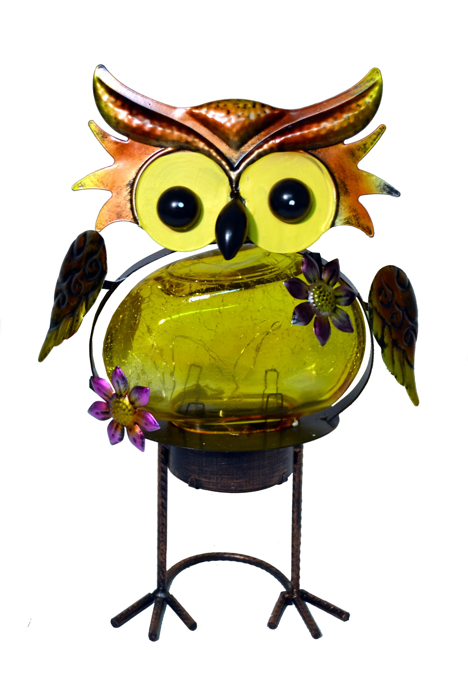 OWL WITH YELLOW SOLAR LED GLASS