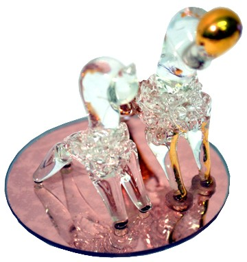 TWO DOGS GLASS ORNAMENT