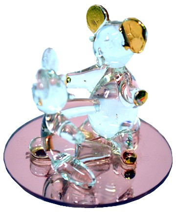 TWO BEARS GLASS ORNAMENT