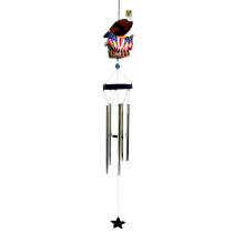 Poly Resin Patriotic Chime Eagle Standing On Flag 36 inch 108601
