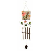 BFLY PRINT SQUARE METAL TOP WIND CHIME