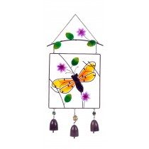 BUMBLE BEE-STAINED GLASS HANGER W/ BELLS