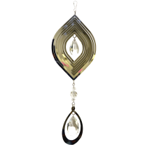 Marquise Silver Spinner with hanging Crystal Drop 24 inch 889002