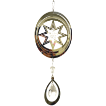 Oval Silver Spinner with hanging Crystal Drop 24 inch 889004