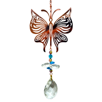 Copper Butterfly with crystal Hanger 24 inch 896002