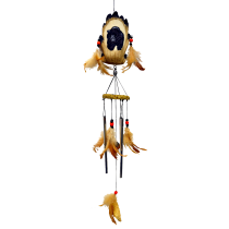 Bear Resin Chime with feather 24 inch 903002