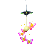 Pink Solar Led Acrylic Butterfly Hanger with flowers 24 inch 909001
