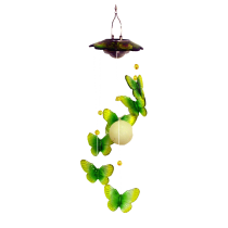 Green Solar Led Acrylic Butterfly Hanger with flowers 24 inch 909004