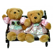 TEDDY COUPLE W/PINK FLORAL ON BENCH