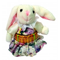 BUNNY W/WHITE FLORAL SKIRT BASKET
