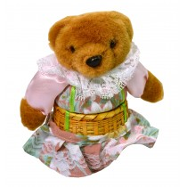 TEDDY W/PINK FLORAL SKIRT BASKET