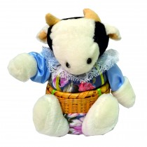 COW W/BLUE FLORAL PRINT BASKET