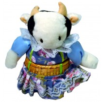 COW W/BLUE FLORAL SKIRT BASKET