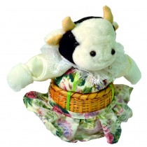 COW W/WHITE FLORAL SKIRT BASKET