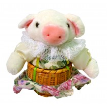 PIG W/WHITE FLORAL SKIRT BASKET