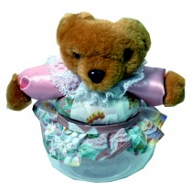 TEDDY W/PINK FLORAL SKIRT JAR