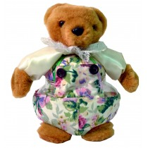 TEDDY W/WHITE FLORAL PRINT JAR
