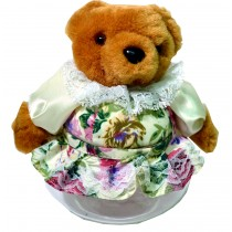 TEDDY W/WHITE FLORAL SKIRT JAR