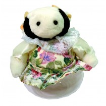 COW W/WHITE FLORAL SKIRT JAR