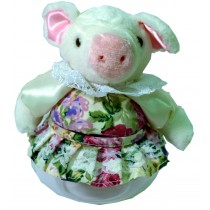 PIG W/WHITE FLORAL SKIRT JAR
