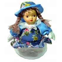 GIRL W/BLUE FLORAL SKIRT JAR