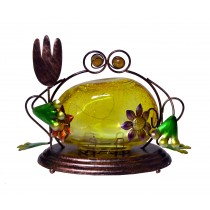 FROG WITH YELLOW LED GLASS SMALL